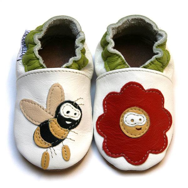 bébé chausson cuir souple fabrication française abeille