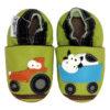 chaussons en cuir souple tracteur vache