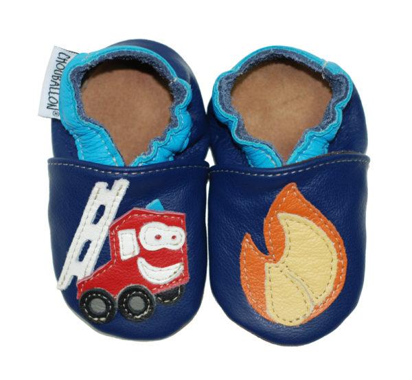chaussons en cuir souple pompiers