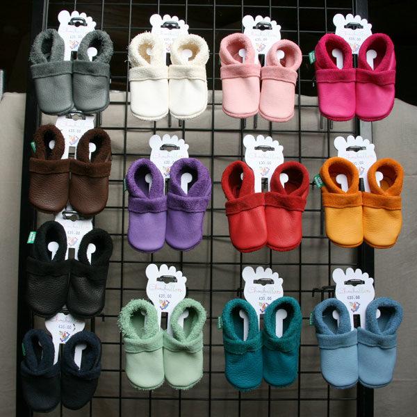 chaussons en cuir souple bebe au tannage végétal fabrication française