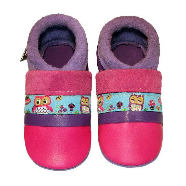 chaussons en cuir souple bebe fabrication française Lisette la chouette