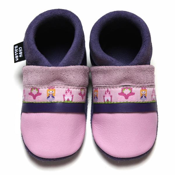 bébé chausson cuir souple fabrication française ruban princesse rose