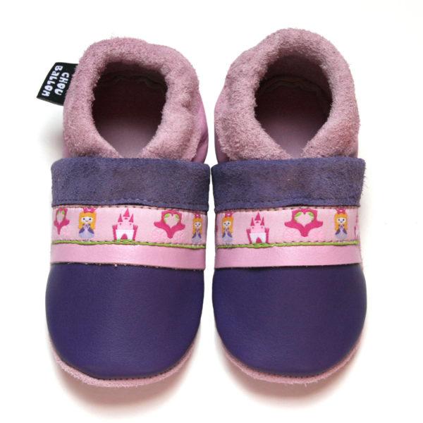 bébé chausson cuir souple fabrication française ruban princesse violet