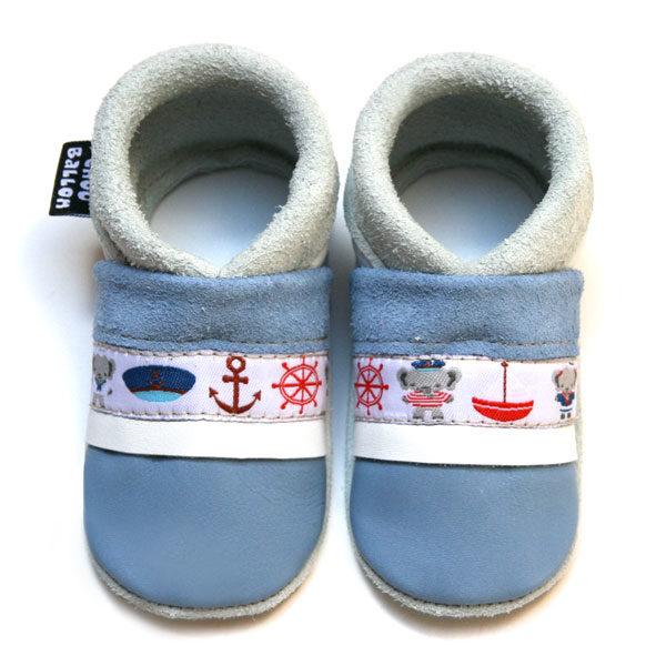 bébé chausson cuir souple fabrication française ruban bateau