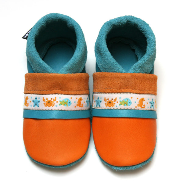 bébé chausson cuir souple fabrication française ruban crabe orange