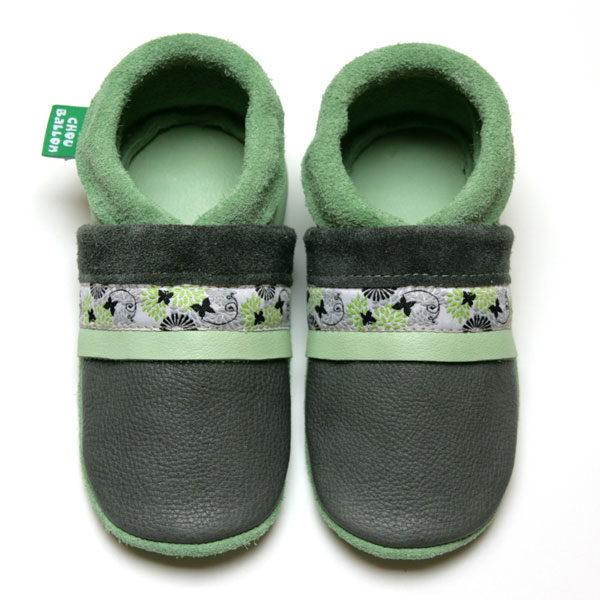 bébé chausson cuir souple tannage végétal ruban papillon gris