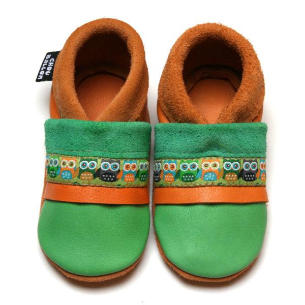 bébé chausson cuir souple fabrication française ruban hibou vert