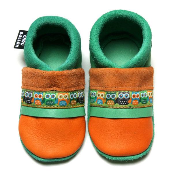 bébé chausson cuir souple fabrication française ruban papillon orange