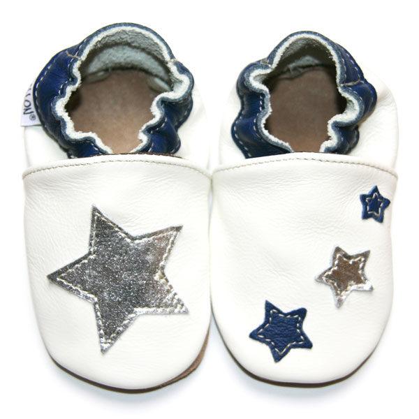 bébé chausson cuir souple fabrication française étoile blanche