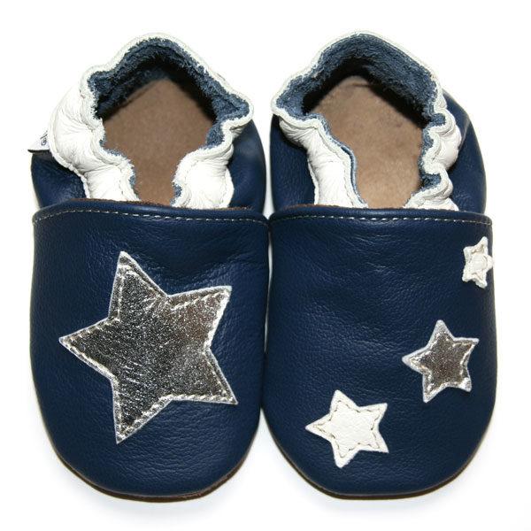 ca8496bdf1bd3 Etoiles Bleu Marine. Produit suivant · bébé chausson cuir souple  fabrication française étoile blanche