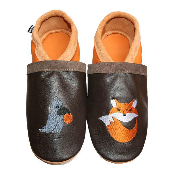 chaussons en cuir souple tannage minéral renard