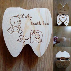 Boite à dents en bois forme dent